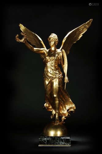 VICTORY STATUE 十九世纪 铜镀金胜利女神雕塑