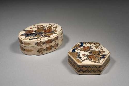 DEUX BOÎTES EN FAÏENCE SATSUMA, Japon, époque Meiji (1868-1912)
