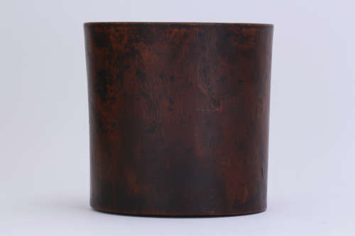 A Chinese Caved Huanghuali Brush Pot