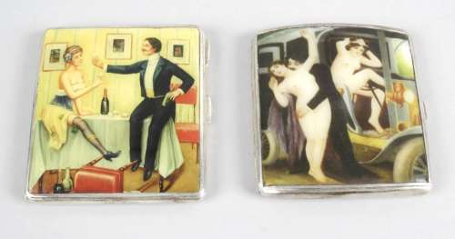 Two silver cigarette cases of rounded square form,