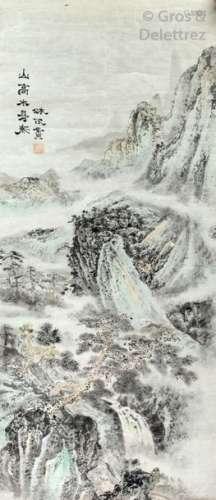 École Chinoise Paysage à la cascade Encre de Chine…