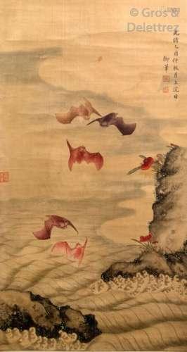 Chine, XXe siècle Encre et couleurs sur papier rep…