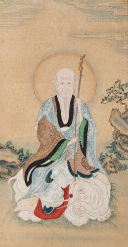Chine, fin XIXe siècle\t \nLot de deux peintures sur…