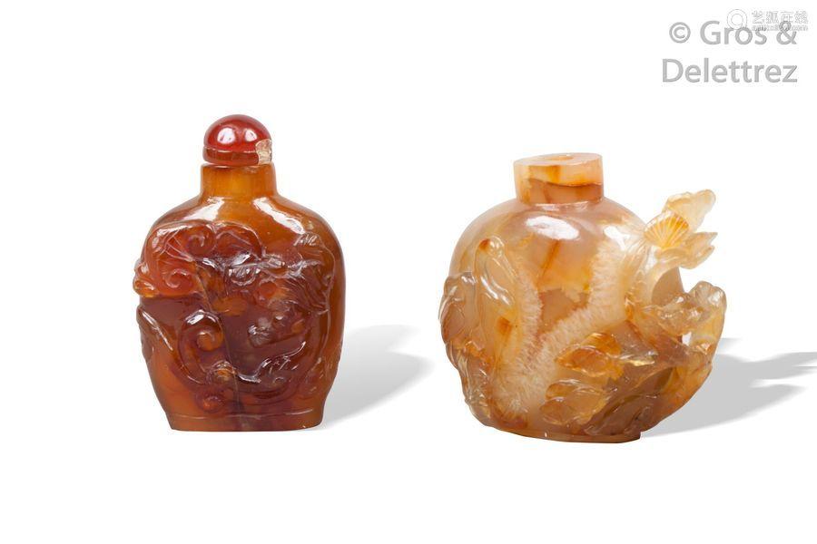 Chine, XXe siècle Deux flacons tabatières, l'un en…
