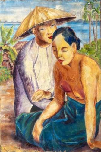 Yves REVELLI (1898 1971) Deux paysannes vietnamien…