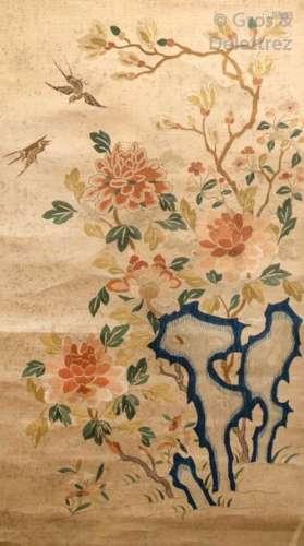 Chine, époque Qing Broderie aux fils de soie sur s…