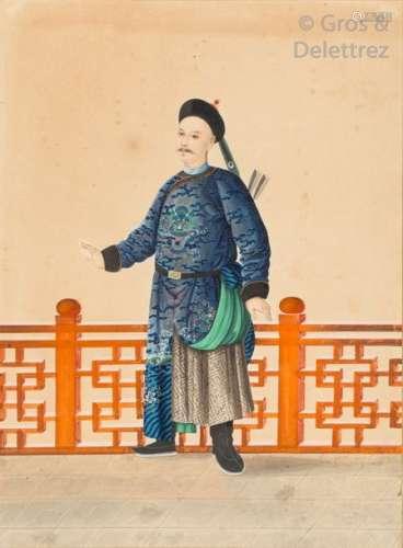 Chine, début XXe siècle Gouache polychrome, représ…