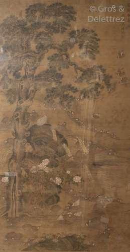 Chine, fin XIXe début XXe\t \nPeinture sur toile rep…