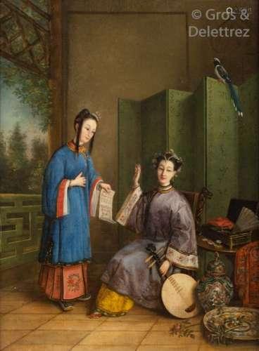 École Anglo Chinoise, vers 1880 Peinture représent…