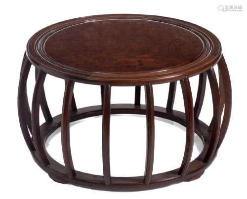 Table basse de forme tambour en Huang Huali