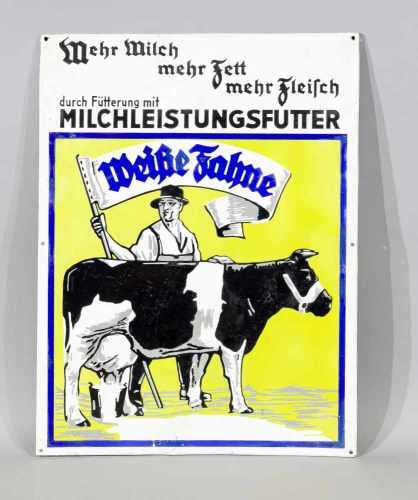 Emailleschild um 1920, Weiße Fahne Milchleistungsfutter, großes Werbeschild mit