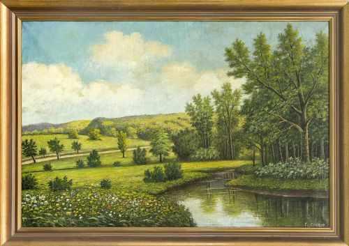 F. Becker, Landschaftsmaler Anfang 20. Jh., große sommerliche Landschaft mit Bachlauf,Öl/lLwd., u.