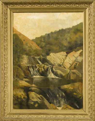 E. Martinez, 1. H. 20. Jh., Gebirgslandschaft mit Wasserfall, Öl auf Lwd., u. re. sign.