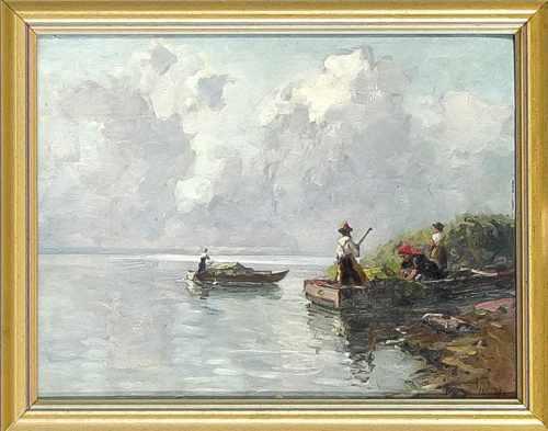 Willy Moralt (1884-1947), Münchner Landschafts- und Genremaler, Fischer am Chiemsee, Ölauf Karton,