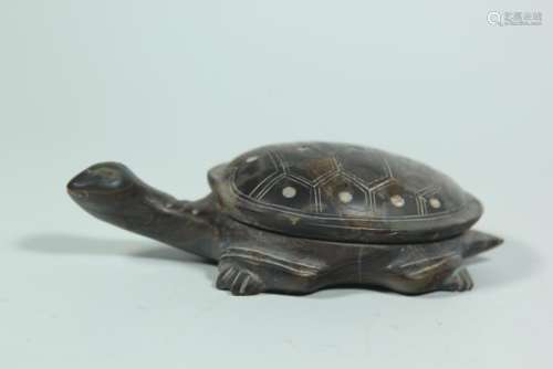 A DUAN 'TURTLE' INK STONE.ANTIQUE