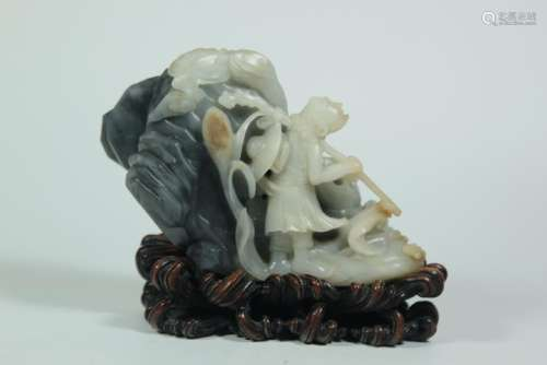 A CARVED JADE DAMO.QING DYANSTY