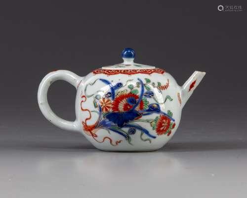 A Chinese famille verte globular shaped teapot
