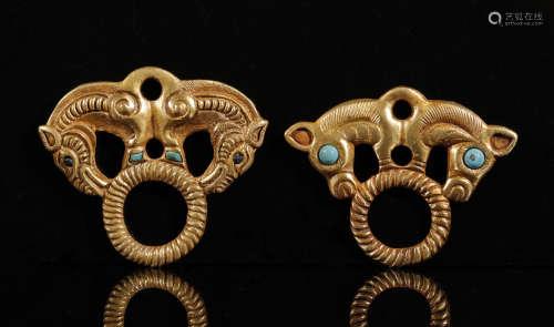 鄂尔多斯草原文化银鎏金嵌松石马饰一对