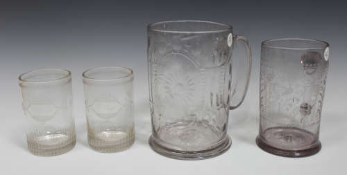 A large Continental glass tankard, probably German, late 18th century, the cylindrical body cut with