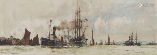 Charles Dixon - 'Off Tilbury', early 20th century watercolour, signed, titled and dated 1901, 26.5cm