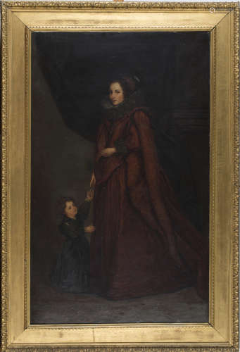 Edwin Nichol, after Anthony van Dyck - A Genoese Lady with her Child, 19th century oil on canvas,
