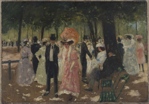 Attributed to Adrian Paul Allinson - Figures promenading in a Park, early 20th century oil on