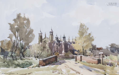 Edward Wesson - Eton College Chapel, 20th century watercolour, signed, 31cm x 49cm, within a gilt