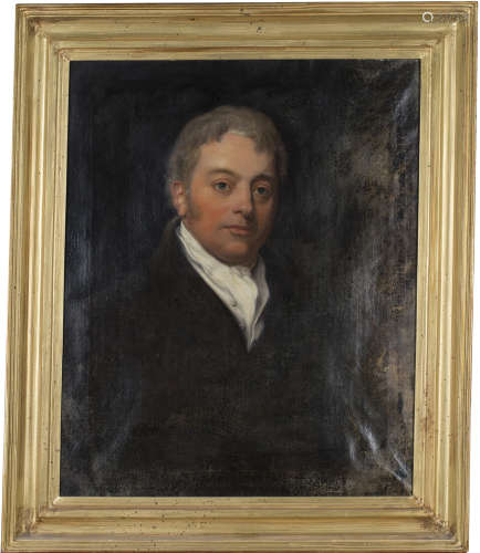 British School - Portrait of a Gentleman wearing a White Stock and Black Jacket, early 19th