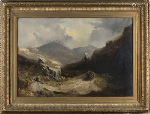 Attributed to George Howland Beaumont - 'Scene in Wales', 19th century oil on canvas, titled and