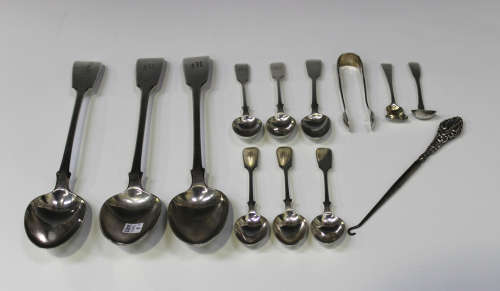 Three George IV silver Fiddle pattern tablespoons, London 1827 and 1828 by William Chawner II,