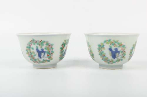 A Pair of Chinese Dou-Cai Porcelain Cups