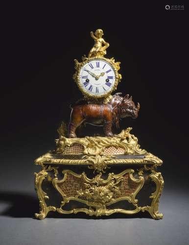 ALouis XVgilt-bronze, bronze and vernis martin musical rhinoceros table clock, circa 1748, attributed to Jean-Joseph de Saint-Germain