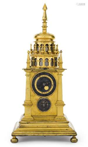 German A RENAISSANCE GILT-BRASS QUARTER STRIKING 'TURMCHENUHR' WITH ALARM CIRCA 1600<br/>