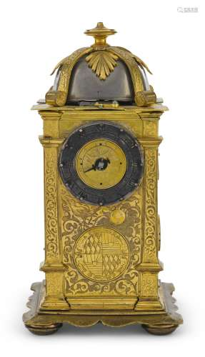 German A RENAISSANCE ENGRAVED GILT-BRASS TABLE CLOCK WITH ALARM CIRCA 1560<br/>