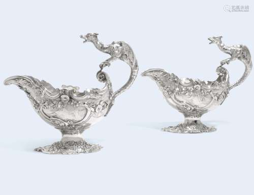 A pair of George II silver sauceboats, Frederick Kandler, London, 1743