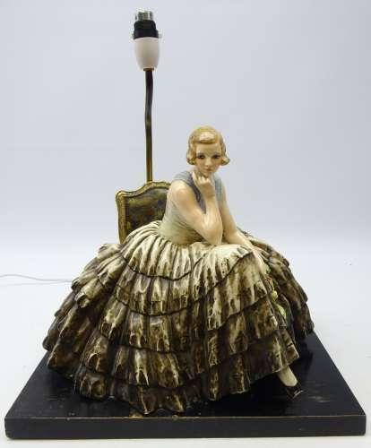 Guido Cacciapuoti (Italian 1892-1953): large ceramic model of a seated lady wearing crinoline dress