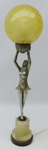 Art Deco silvered spelter table lamp modelled as a lady dancer holding a globular glass shade below