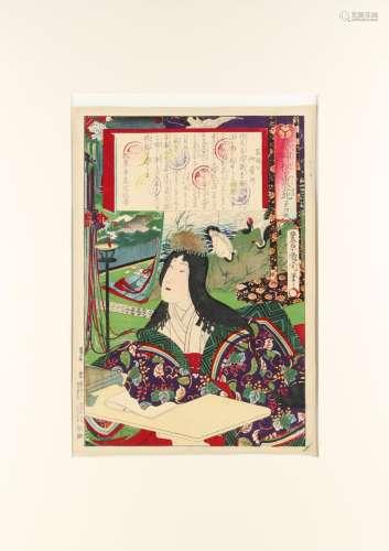 Toyohara Kunichika (1835-1900) - THE WIFE OF TOKUGAWA IETSUNA - woodblock print, oban, mounted but