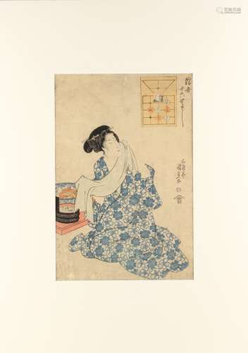 Utagawa Kunisada I (1786-1865) - WOMAN AFTER TAKING A BATH, from 'BOARD GAME OF THE FLOATING