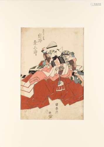 Utagawa Kuniyasu (1794-1832) - ACTOR IWAI KUMESABURO - woodblock print, oban, mounted but unframed.