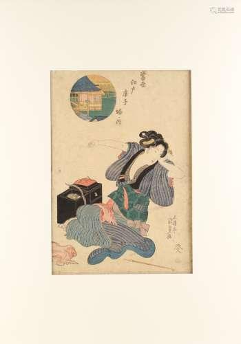 Utagawa Kunisada I (1786-1865) - HORINOUCHI, from EDO TIE-DYING IN THE MODERN STYLE - woodblock