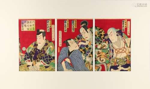 Toyohara Kunichika (1835-1900) - THE KABUKI PLAY KAWANAKAJIMA AT THE SHINTOMIZA THEATRE -