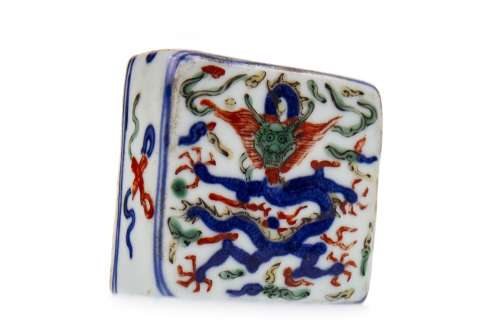 A CHINESE CERAMIC DESK WEIGHT