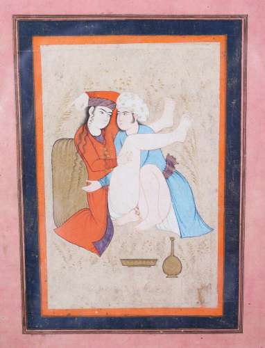 A 19TH CENTURY OR EARLIER PERSIAN EROTIC PICTURE, 16cm x 10cm, framed and glazed.