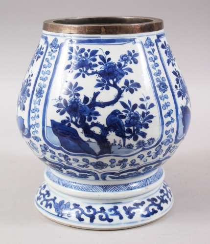 A CHINESE BLUE & WHITE KANGXI PORCELAIN BULB SHAPED VASE, the body with various panels of birds