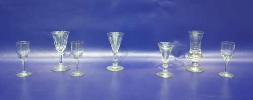 Assorted 18th/19th century glassware to include wine glass with cut glass waisted bowl, knopped