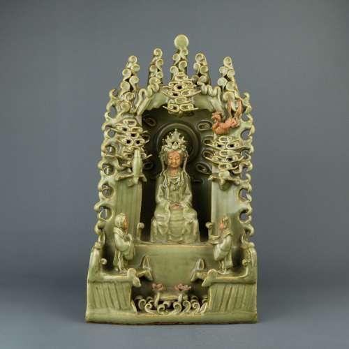 A Chinese Celadon Porcelain Buddha