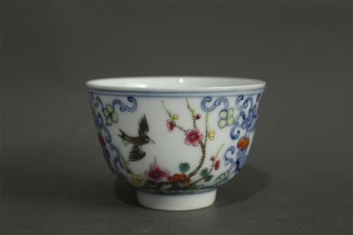 A Chinese Dou-Cai Porcelain Cup