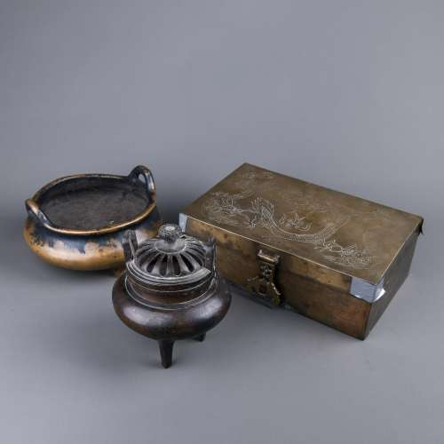 A Set of Bronze Incense Burners and Box
