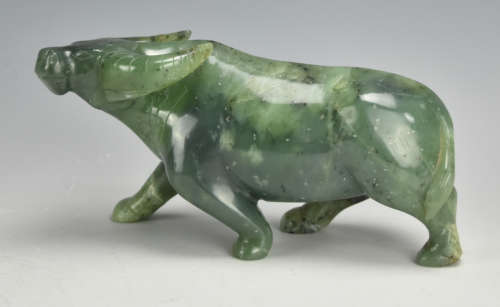 A Chinese Marbled Jade Ox / Water Buffalo,20th C.